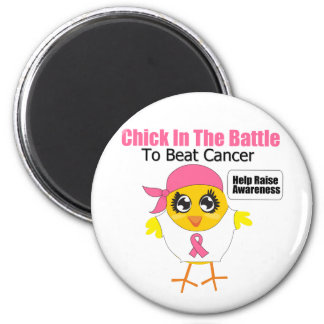 Breast Cancer Chick In the Battle to Beat Cancer 2 Inch Round Magnet