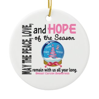 Breast Cancer Christmas 3 Snow Globe Ornaments ornament