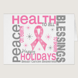 Breast Cancer Christmas 4 Holiday Snowflakes Card