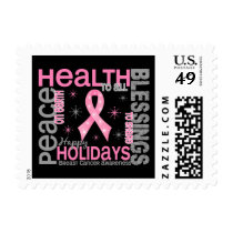 Breast Cancer Christmas 4 Holiday Snowflakes Postage Stamps