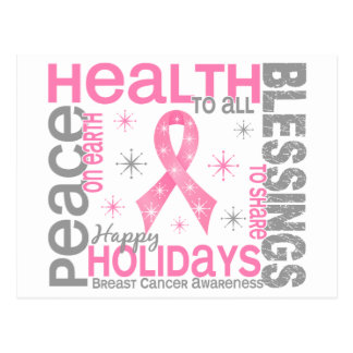 Breast Cancer Christmas 4 Holiday Snowflakes Postcard