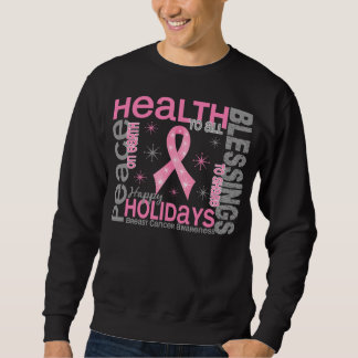 Breast Cancer Christmas 4 Holiday Snowflakes Pullover Sweatshirts