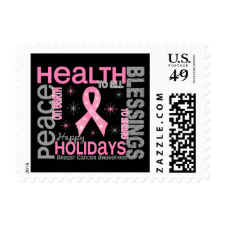 Breast Cancer Christmas 4 Holiday Snowflakes Stamp