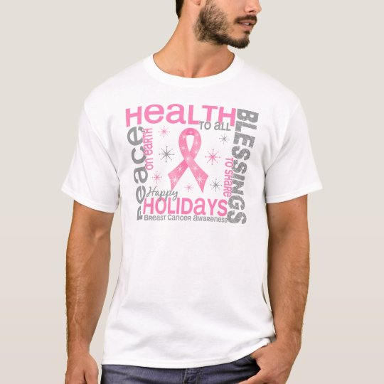 Breast Cancer Christmas 4 Holiday Snowflakes T-Shirt