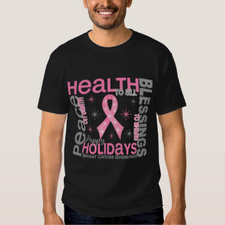 Breast Cancer Christmas 4 Holiday Snowflakes T Shirts