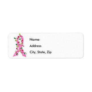 Breast Cancer Christmas Lights Ribbon Return Address Label