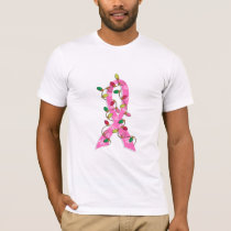 Breast Cancer Christmas Lights Ribbon T-Shirt