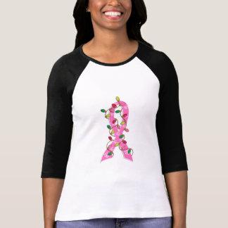 Breast Cancer Christmas Lights Ribbon Tee Shirt
