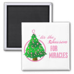 Breast Cancer Christmas Miracles 2 Inch Square Magnet