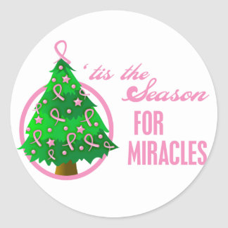 Breast Cancer Christmas Miracles Round Sticker
