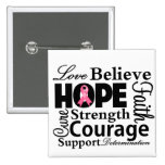Breast Cancer Collage of Hope 2 Inch Square Button