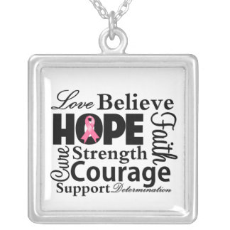 Breast Cancer Collage of Hope Square Pendant Necklace