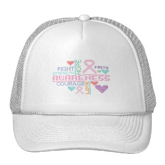 Breast Cancer Colorful Slogans Trucker Hat