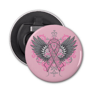 Breast Cancer Cool Awareness Wings Bottle Opener