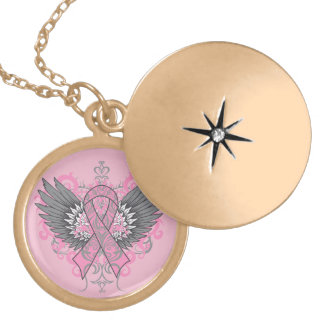 Breast Cancer Cool Awareness Wings Lockets