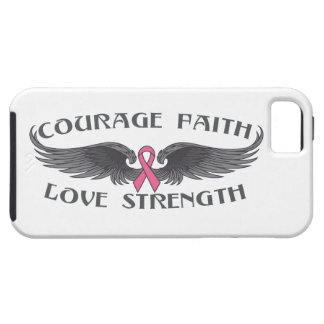 Breast Cancer Courage Faith Strength Wings iPhone 5 Cover