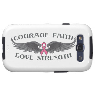 Breast Cancer Courage Faith Strength Wings Galaxy S3 Cover