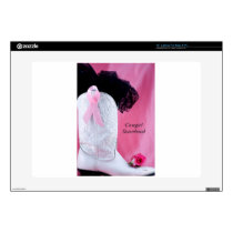 "Breast Cancer Cowgirl Boot Pink Ribbon Sisterhood 15"" Laptop Skins"