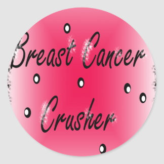 Breast Cancer Crusher Classic Round Sticker