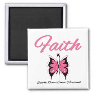 Breast Cancer Faith Butterfly Ribbon 2 Inch Square Magnet