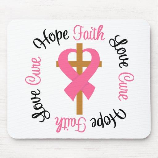 Breast Cancer Faith Hope Love Cross Mouse Mat