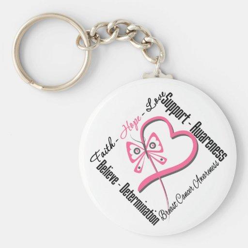 Breast Cancer Faith Hope Love Keychain