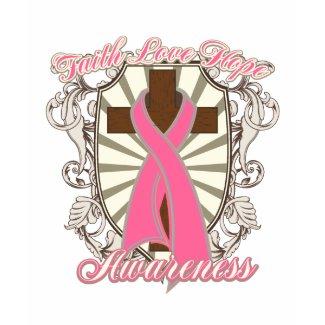 Breast Cancer Faith Love Hope Awareness Cross shirt