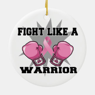 Breast Cancer Fight Like a Warrior Christmas Tree Ornaments