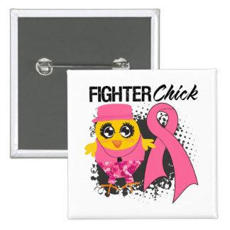 Breast Cancer Fighter Chick Grunge Pinback Button