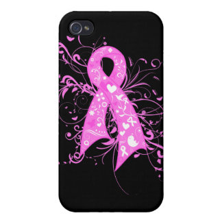 Breast Cancer Floral Swirls Ribbon iPhone 4/4S Covers