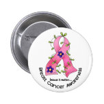 BREAST CANCER Flower Ribbon 1 Pinback Button