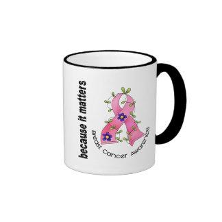 Breast Cancer Flower Ribbon 3 Ringer Mug