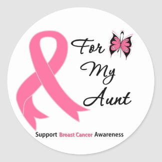 Breast Cancer For My Aunt Classic Round Sticker