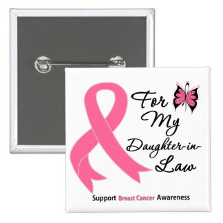 Breast Cancer For My Daughter-in-Law 2 Inch Square Button