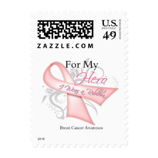 Breast Cancer For My Hero I Wear a Ribbon Postage Stamps