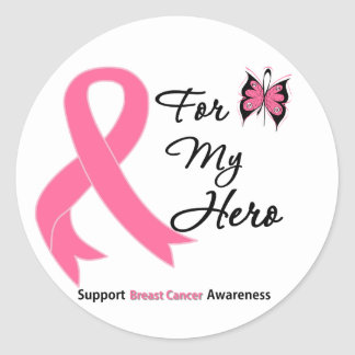Breast Cancer For My Hero Classic Round Sticker