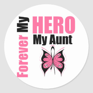 Breast Cancer Forever My Hero My Aunt Classic Round Sticker