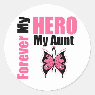 Breast Cancer Forever My Hero My Aunt Round Sticker