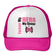 Breast Cancer  on Breast Cancer Forever My Hero My Sister Mesh Hats