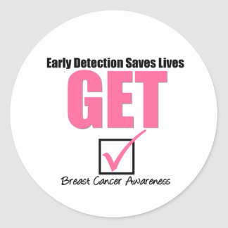 Breast Cancer Get Checked v4 Classic Round Sticker