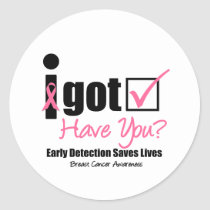 Breast Cancer Get Checked v5 Classic Round Sticker