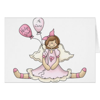 Breast Cancer girl with balloons Greeting Card