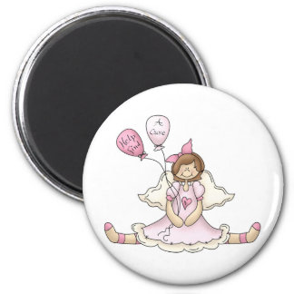 Breast Cancer girl with balloons Magnets