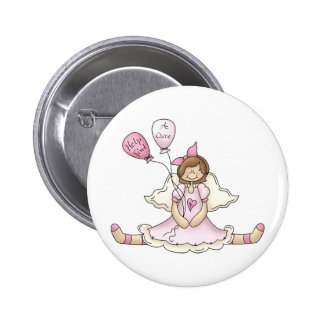 Breast Cancer girl with balloons Pin