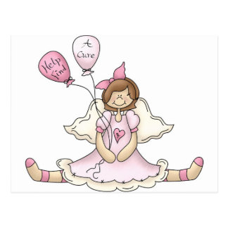 Breast Cancer girl with balloons Post Card