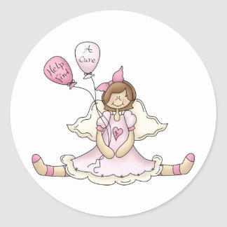 Breast Cancer girl with balloons Round Sticker