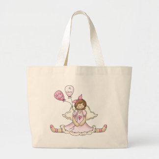 Breast Cancer girl with balloons Tote Bag