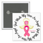 Breast Cancer God Made My Hero An Angel Pinback Button