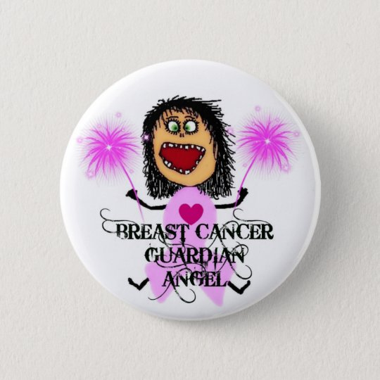 Breast Cancer Guardian Angel Button
