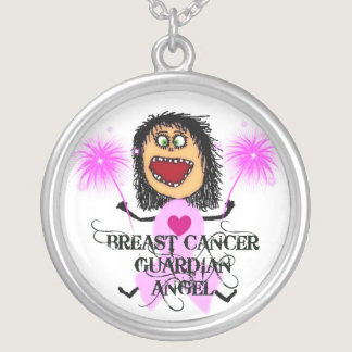 Breast Cancer Guardian Angel Silver Plated Necklace